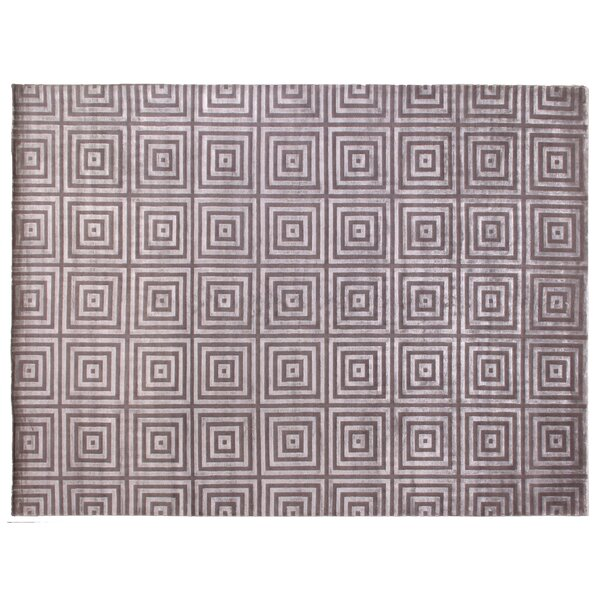 Greek Key Hand-Knotted Silver/Gray Area Rug by Exquisite Rugs