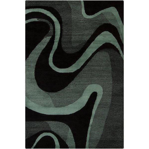 Millwood Hand Tufted Wool Black/Teal Area Rug by Latitude Run