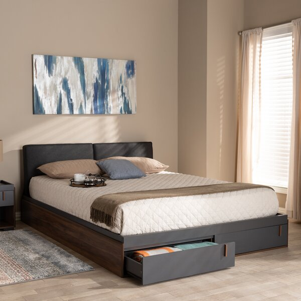 Aspatria Queen Upholstered Storage Platform Bed by Wrought Studio