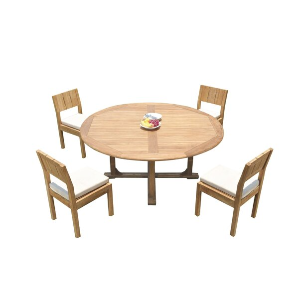 Johnone 5 Piece Teak Dining Set by Rosecliff Heights