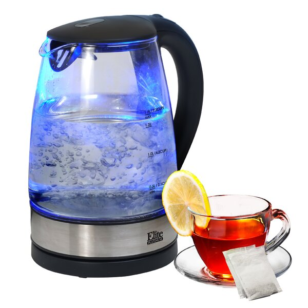 Platinum 1.8-qt. Cordless Glass Electric Tea Kettle by Elite by Maxi-Matic