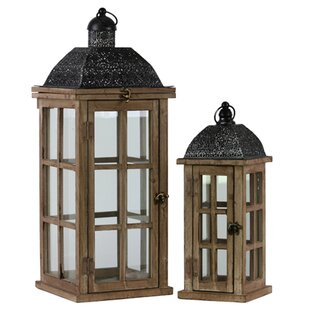 Read Reviews 2 Piece Wood Lantern Set By Urban Trends