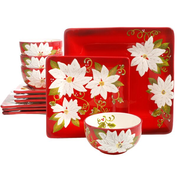 Cushman Pleasant Poinsettia 12 Piece Dinnerware Set, Service for 4 by The Holiday Aisle