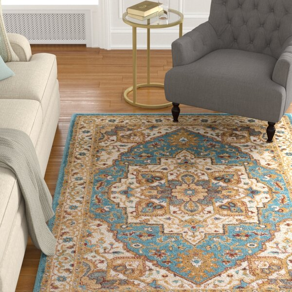 Piccirillo Teal/Metallic-gold Area Rug by Astoria Grand