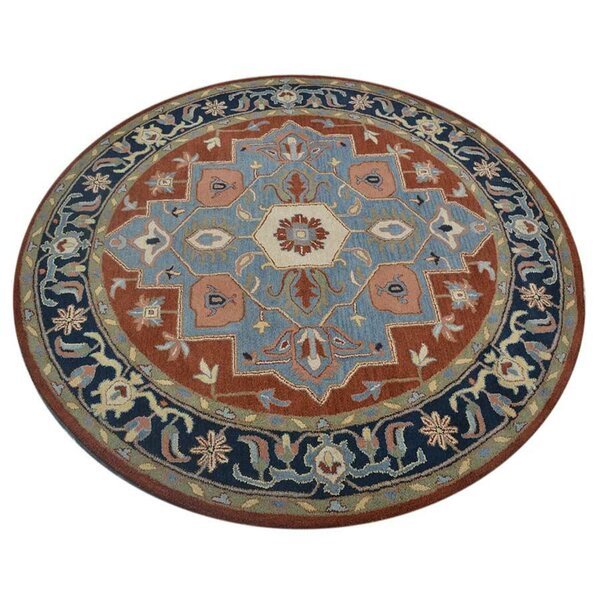 Lenita Round Oriental Hand-Tufted Wool Red/Blue Area Rug by World Menagerie