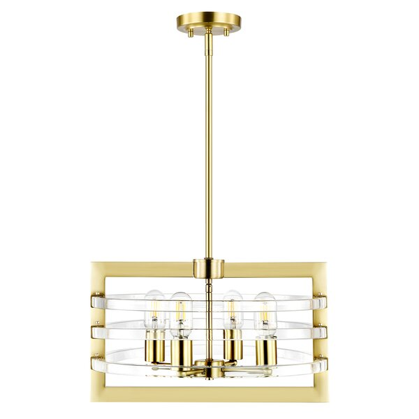 Jerrold 4 - Light Unique Rectangle Chandelier by Everly Quinn Everly Quinn