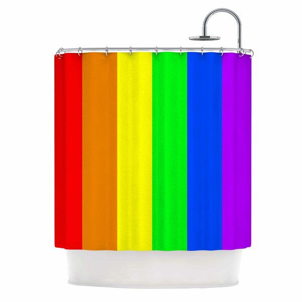Bruce Stanfield Rainbow Stripes Digital Shower Curtain by East Urban Home