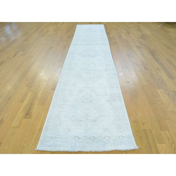 One-of-a-Kind Beaumont Stone Wash Handwoven Ivory Wool Area Rug by Isabelline