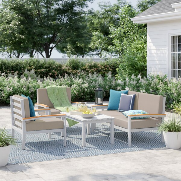 Caspian 5 Piece Sofa Seating Group with Cushions by Sol 72 Outdoor