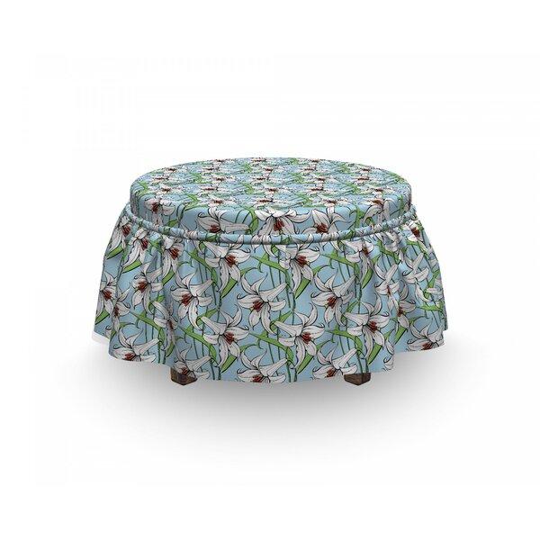 Flower Lilies Garden 2 Piece Box Cushion Ottoman Slipcover Set By East Urban Home