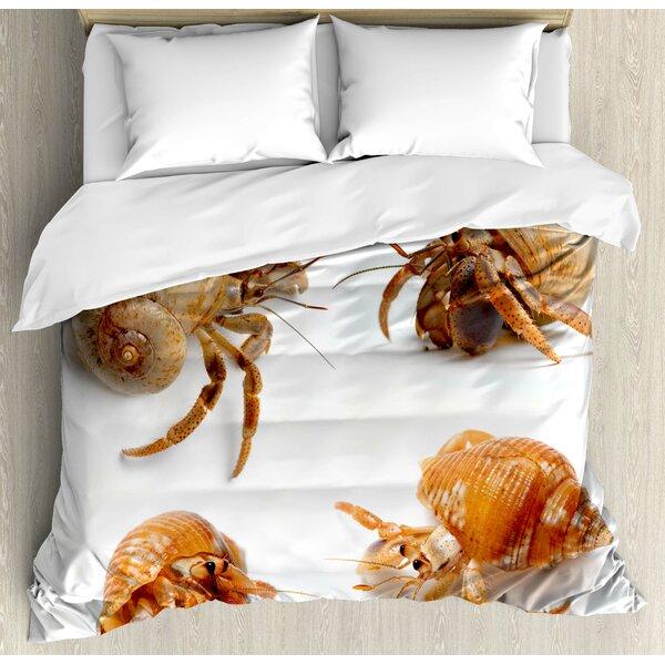 Crabs Decor Duvet Set by Ambesonne