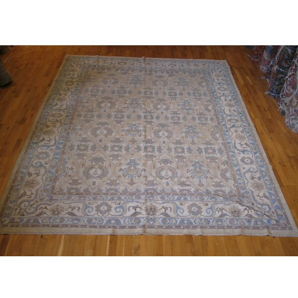 One-of-a-Kind Hand-Knotted Beige 9' x 12' Wool Area Rug
