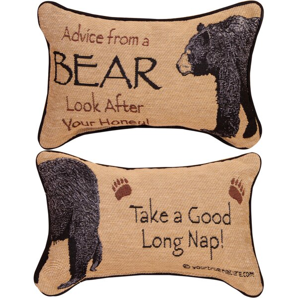 Advice from a Bear Word Lumbar Pillow by Manual Woodworkers & Weavers