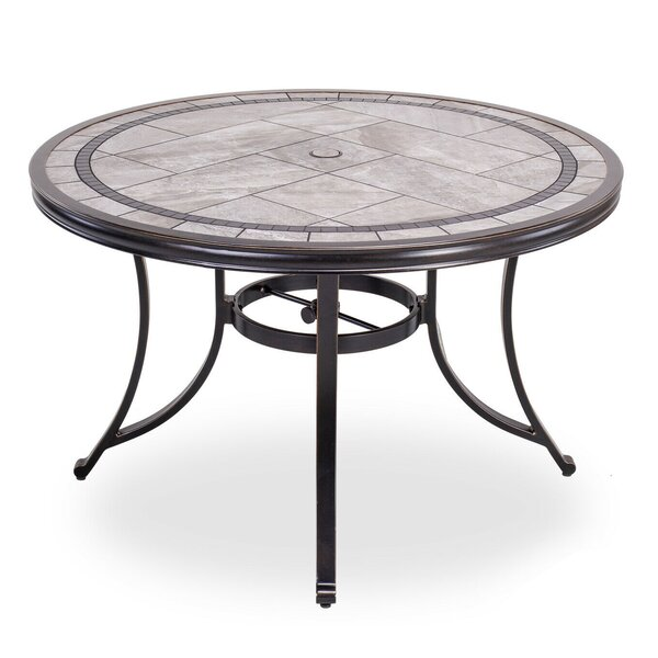 """46"""" Round Patio Table With Handmade Porcelain Top And Heavy Duty Frame by Fleur De Lis Living"""