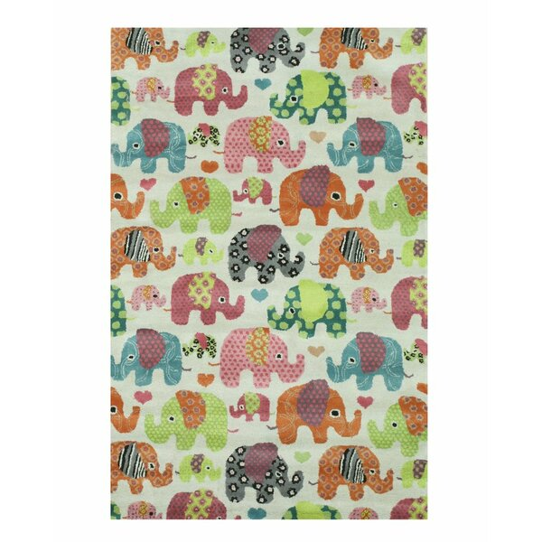 Kids Elephant Hand-Tufted Orange/Green Area Rug by Eastern Rugs
