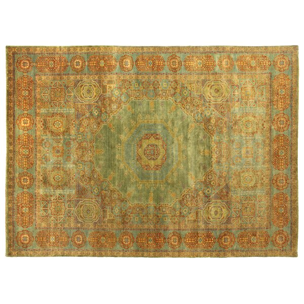 Mamluk Hand-Knotted Wool Red/Light Blue Area Rug by Exquisite Rugs