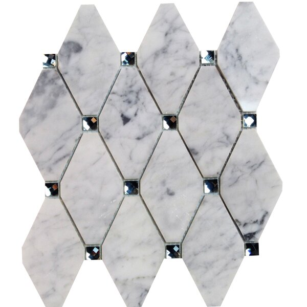 Mirage Lozenge 2.5 x 5 Marble/Glass Mosaic Tile in Gray by Splashback Tile
