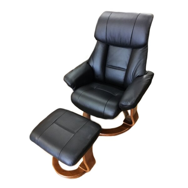 Alfredo Leather Manual Swivel Recliner with Ottoman by World Source Design