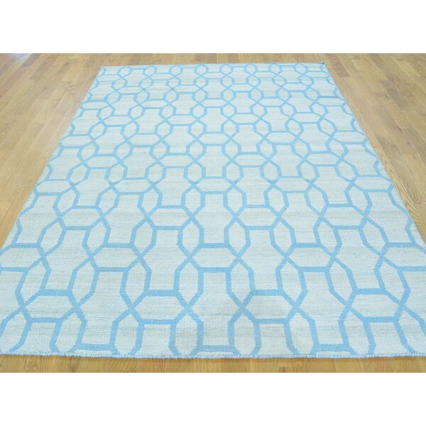 One-of-a-Kind Blakeley Reversible Handmade Kilim Blue Wool Area Rug by Isabelline