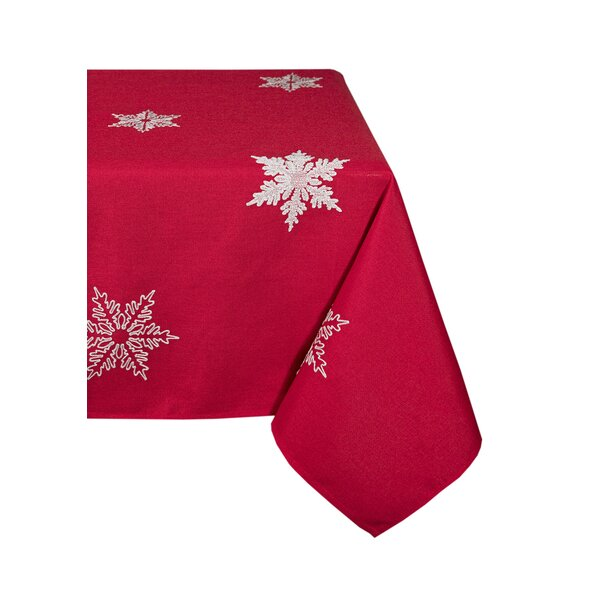 Snowflake Embroidered Christmas Square Tablecloth