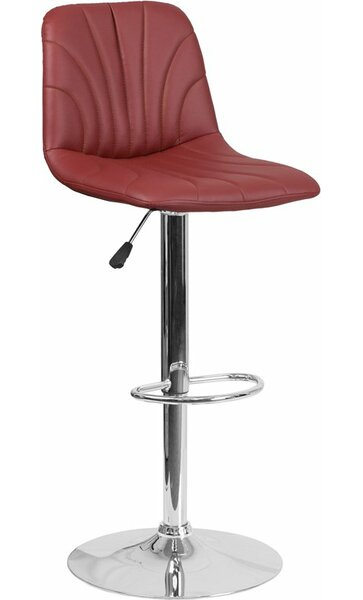 Whelan Luxe Mid Back Adjustable Height Swivel Bar Stool by Orren Ellis