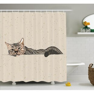 Best Animal Lazt Sleepy Cat Figure Shower Curtain By East Urban Home