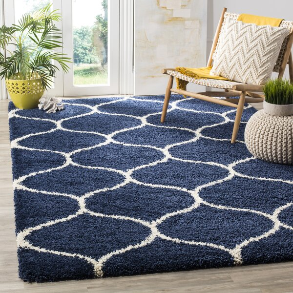 Duhon Shag Navy/Ivory Area Rug by Mercury Row