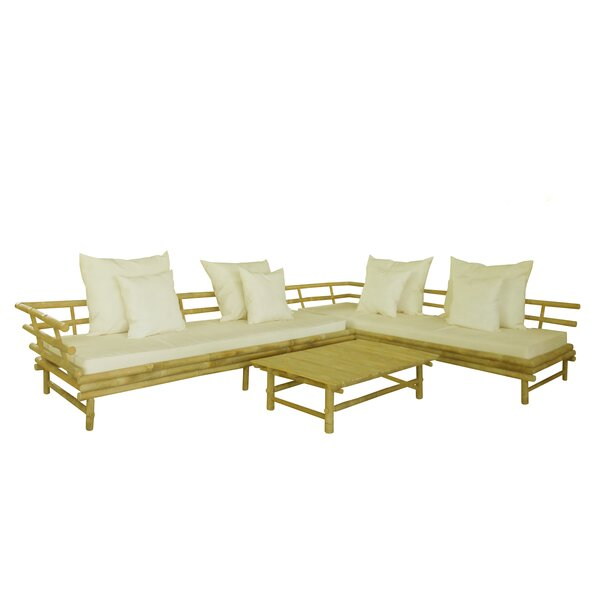 Bamboo 3 Piece Sectional Set with Cushions by ZEW Inc