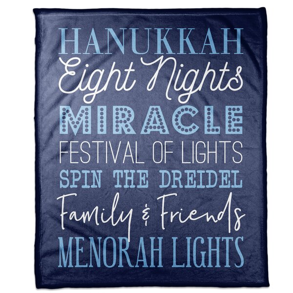 Weside Hanukkah Words Blanket by The Holiday Aisle