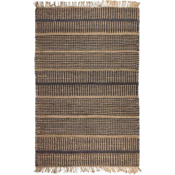 Ginger Hand-Woven Charcoal Area Rug by Rosecliff Heights