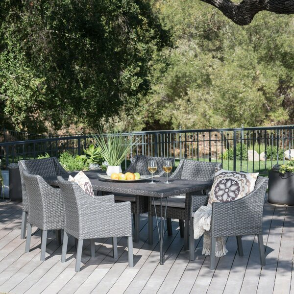 Lueck Outdoor Wicker 7 Piece Dining Set with Cushions by Orren Ellis