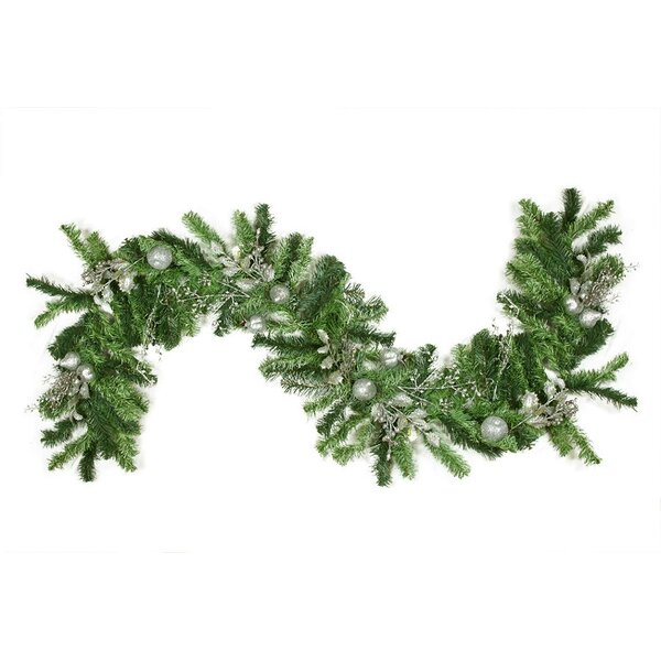 Pre Decorated Silver Holly Berry Apple and Twig Artificial Christmas Garland by Northlight Seasonal