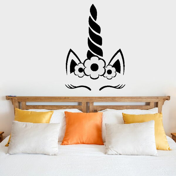 Hoglund Unicorn Face Sleeping Vinyl Wall Decal by Zoomie Kids