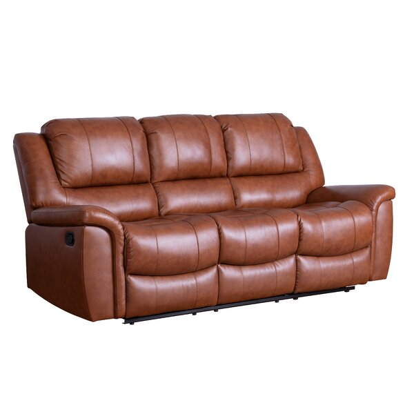 Keziah Genuine Leather Reclining Sofa by Darby Home Co