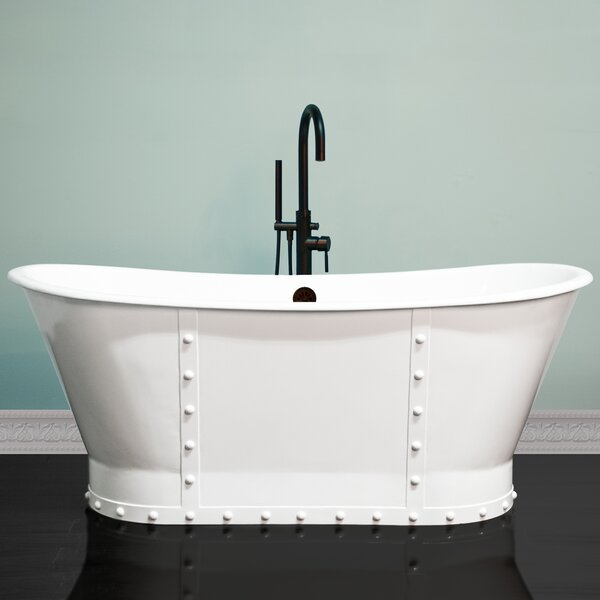 Stylish Rivet Double Slipper 67 x 27 Freestanding Soaking Bathtub by Cambridge Plumbing