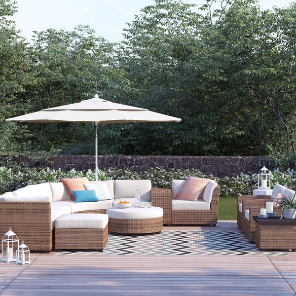 Waterbury 12 Piece Rattan Sectional Seating Group with Cushions by Sol 72 Outdoor