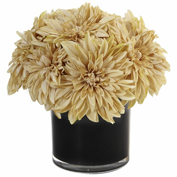 Silk Dahlia and Mums Floral Arrangement in Planter by Mercer41