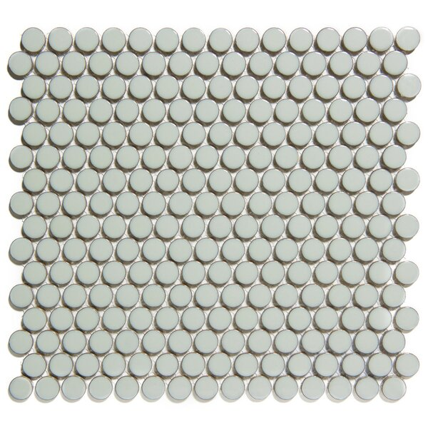 Venice Penny Retro Edge Glossy 0.75 x 0.75 Porcelain Mosaic Tile in Gray by The Mosaic Factory