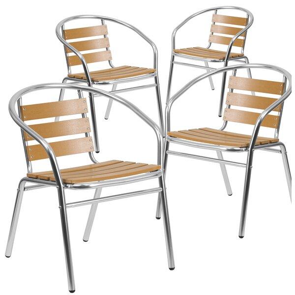 Ellijay Stacking Teak Patio Dining Chair (Set of 4) by Latitude Run Latitude Run
