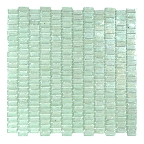 Classic Recycled 12.81 x 12.31 Glass Mosaic Tile in Glazed Iceberq by Abolos