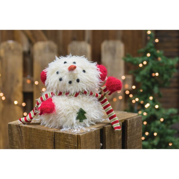 Sitting Furry Snowman with Mittens by The Holiday Aisle