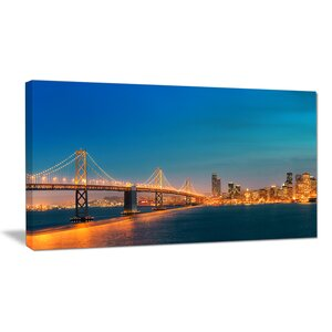 Illuminated San Francisco Skyline Cityscape Photographic Print on Wrapped Canvas by Design Art