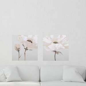 'Flower and Nature' 2 Piece Painting on Canvas Set in White/Gray by Ophelia & Co.