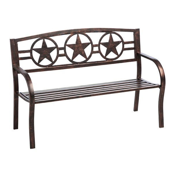Colchester Three Star Metal Garden Bench by Loon Peak