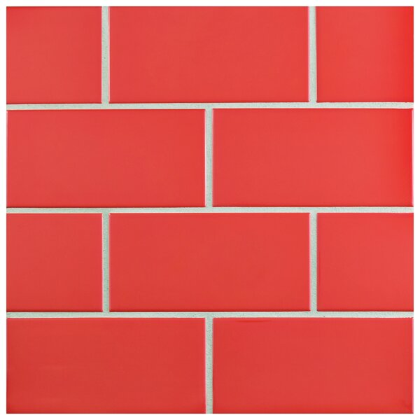 Prospect 3 x 6 Ceramic Subway Tile in Glossy Apple Red by EliteTile