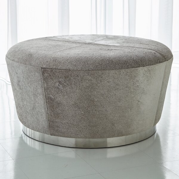 Tapered Leather Cocktail Ottoman
