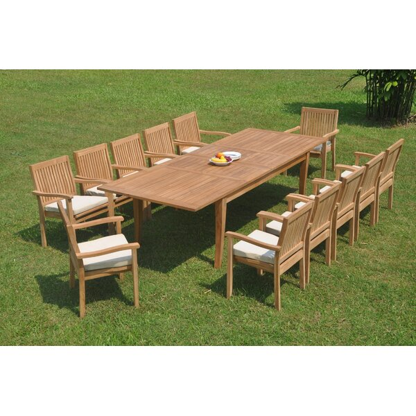 Quebec 13 Piece Teak Dining Set by Rosecliff Heights