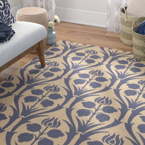 Baconton Hand-Hooked Blue/Beige Wool Area Rug by Bungalow Rose