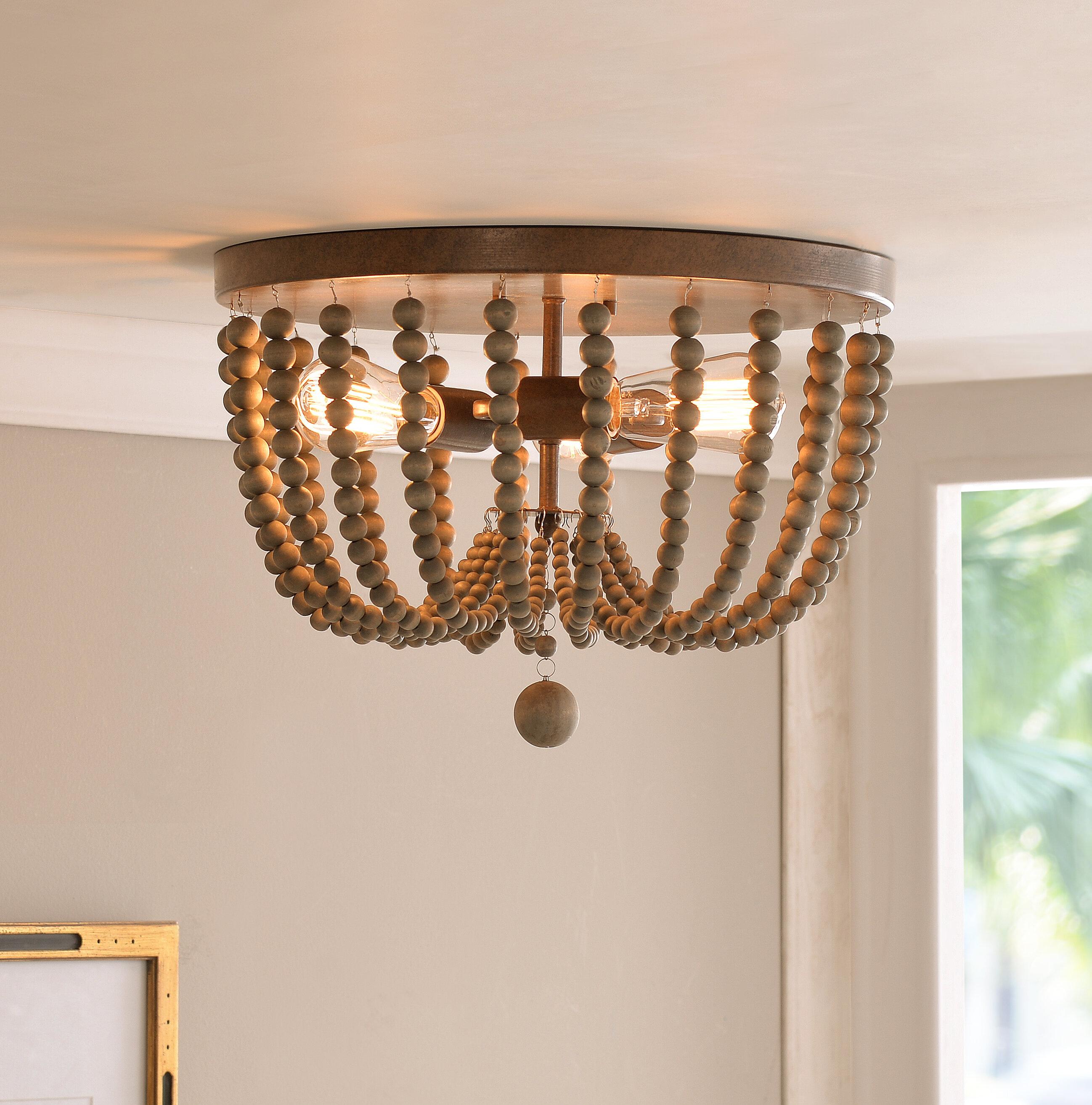 bay isle home tilden wood bead 3 light flush mount reviews wayfair