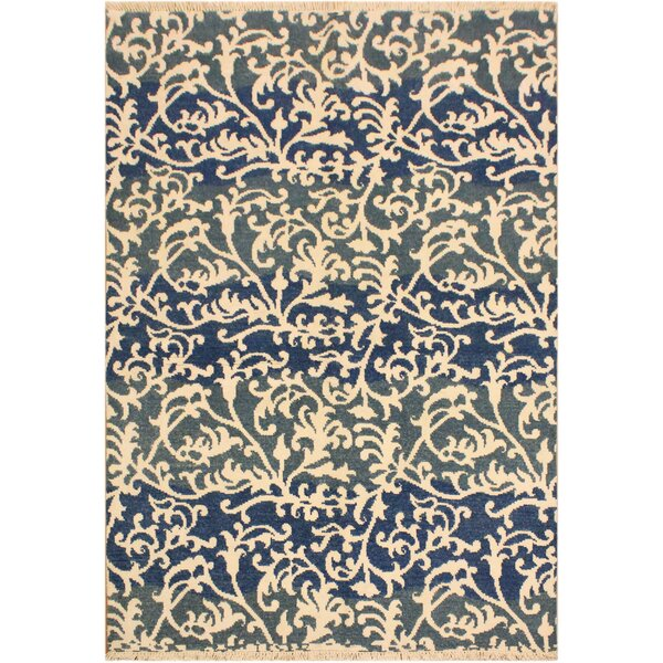 One-of-a-Kind Mila Hand Knotted Wool Navy/Ivory Area Rug by Winston Porter